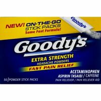 Goody's Extra Strength Fast Pain Relief Aspirin Powder Stick 50 Count, 2 Pack