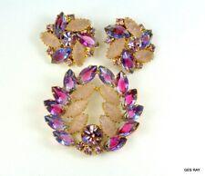 JULIANA D&E Jewelry Set Brooch Earrings Clips Givre Navette Glass Rhinestone