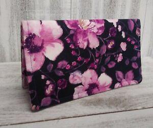 CHECKBOOK COVER Document Coupon Organizer Fuschia Pink Roses Fabric USA Made
