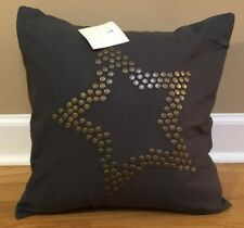 "Pottery Barn Kids Nailhead STAR 16"" Pillow Cover + Insert GRAY Studded"