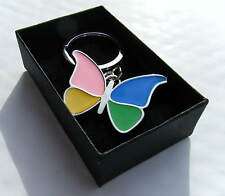 Chrome Metal Enamel Butterfly Keychain Butterfly Keyring Gift Boxed Brand New
