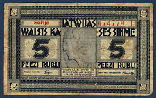 LETTONIE - 5 RUBLI Pick n° 5.e de 1919 non daté en TTB serija 474779 E