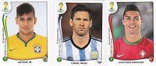 Panini 2014 World Cup Brazil # 523 Ronaldo &  48 Neymar & 430 Messi