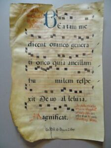 Handbeschriebenes Notenblatt - Tusche auf Pergament - Antiphonar Messe - 1500