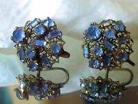 Vintage 1940's Ornate Blue Rhinestone Flower X Pretty Screw Back Earrings 216jn8