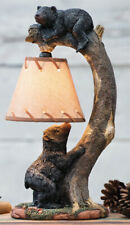 Black Bears On Bending Tree Branch Table Lamp Statue with Hanging Burlap Shade
