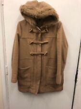 Topshop Wool Blend Fur Hooded Camel Colour Duffle Coat Size 12 Eur 40