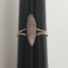 Silver Southwestern Ring Size 4 Pink Mother Of Pearl Inlay Sterling