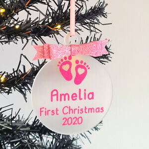 Babys First Christmas 2020 Personalised Bauble Shaped Tree Decoration Baby Girl