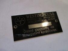 Typenschild id-plate Westinghouse Komressor Luftpresser Schild s24