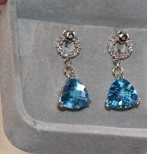 BNIB Blue Topaz Diamond Earrings 18K WG VALUATION $2,125
