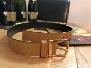 GUCCI tan yellowish light brown leather belt unisex