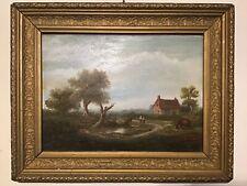 Antique vintage gilt framed very old original oil painting