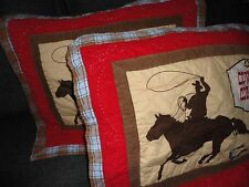 DYR COWBOYS RODEO BOOTS  BROWN RED BLUE CORDUROY (PAIR) STANDARD PILLOW SHAMS