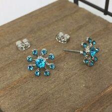Blue Flower Crystal Titanium Post Stud Earrings Made in Korea US Seller