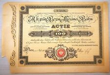 RARA AZIONE DA 100 GULDEN ANNO 1882 BAHN BOZEN MENANER FERROVIA BOLZANO MERANO