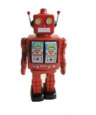 Robot Electron de chapa funciona con pilas roja, MG, Juguete de hojalata