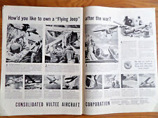 1944 Consolidated Vultee Aircraft Ad WW 2 Own a Flying Jeep after the War?