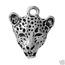 5 Tibetan Silver Leopard Head Cat Pendant Charms