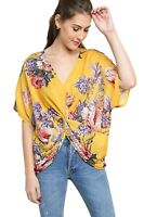 Umgee Women's Honey Mix Reversible Floral Print Dolman Sleeve V-Neck Top