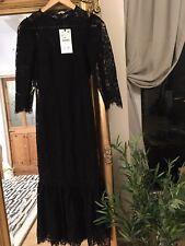 ZARA Black LACE  Frilled Hem Fitted Midi Dress Occasion SMALL❤️❤️