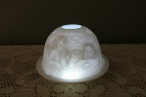 White Bisque Porcelain Lithophane Votive Candle Holder - Day Dream Angels - Vgc