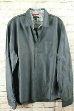 Sons Of Intrigue Mens Button Front Shirt Sz L Gray Long Sleeve