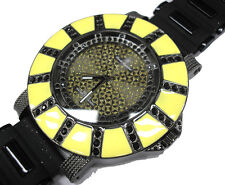 Black Yellow Metal Huge Case Rubber Band Men's Watch
