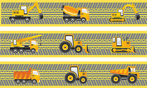 Construction Vehicle Self Adhesive Decorative Wall Border - 5 metres in total