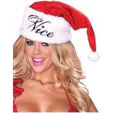 Naughty or Nice Reversible Plush Santa Claus Hat Adult Christmas Costume Acsry