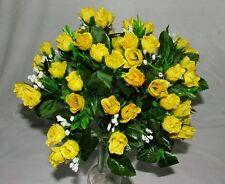 32CM   ARTIFICIAL SILK YELLOW MINI ROSE FLOWER BUSH APP 60 HEADS - GRAVE HOME