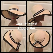 """Ladies Floppy Sun Hat by Sun 'N' Sand @ 22"""" Cream With Black Trim"""