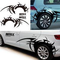 2Pcs Auto Side Wheel Augenbraue Flamme DIY Wasserdicht Vinyl Aufkleber Schwarz