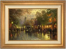 "Thomas Kinkade Evening on the Avenue 18"" x 27"" LE Canvas S/N (Gold Frame)"
