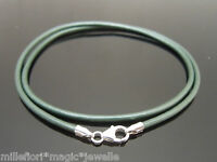 "2mm Ocean Green Leather & Sterling Silver Necklace Or Wristband 16"" 18"" 20"" 22"""