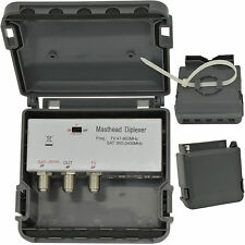 2 PORTA F-Connector Diplexer -- ANTENNA TV & Satellite Combiner -- Outdoor TESTATA SKY