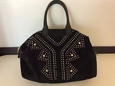 YVES SAINT LAURENT YSL black Large Suede Leather Shoulder Handbag Gold Studs
