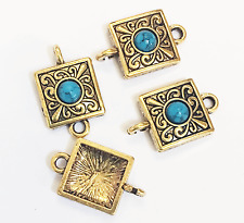 Bulk 30 antique gold square with Turquoise  connector, bulk connectors