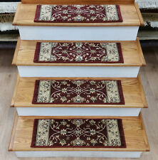 """Rug Depot Set of 13 Traditional Non Slip Carpet Stair Treads 26"""" x 9"""" Red"""