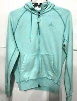 NIKE Air Jordan Wings Men's SZ M Fleece Wash Full Zip Hoodie cd4551 Aqua