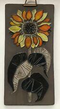 Astrid Tjalk for Fyrbo (Denmark) Decorative Ceramic Tile, Sunflower