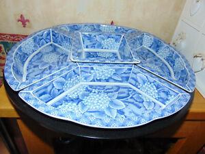 Japanese Revolving Lazy Susan with 5 Individual Food Bowls - Blue