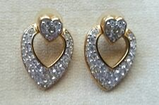 Swarovski Double Heart Shaped Pave Crystal Pierced Earrings Signed Stamped