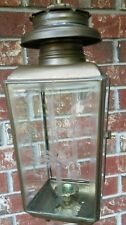 "17"" Tall Vintage Brass Lantern Candle Holder Etched BeveledGlass Panels 4 Sided"