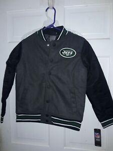 New York Jets letterman Jacket coat fan athletic apparel NFL - Youth Boys S - 8