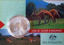 1998 $1 SILVER (0.999) KANGAROO -ONE TROY OUNCE  COIN