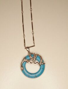 18K White Gold Filled Chain And Turquoise Dyed Stone Circle Dragon Pendant