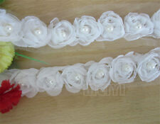 5pcs Pearl Rose Flower Chiffon Trim Wedding Dress Bridal Lace Fabric Doll White