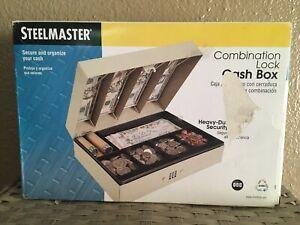 SteelMaster® Heavy-Duty Steel Lay-Flat Cash Box w/6 Compartments, 078541219038
