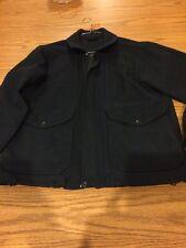 Medium Navy Blue Filson Wool Mackinaw Bomber Jacket